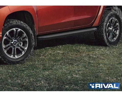 "Пороги алюминиевые Rival ""Premium-Black"" для Mitsubishi L200 2006-2015/ 2015-"