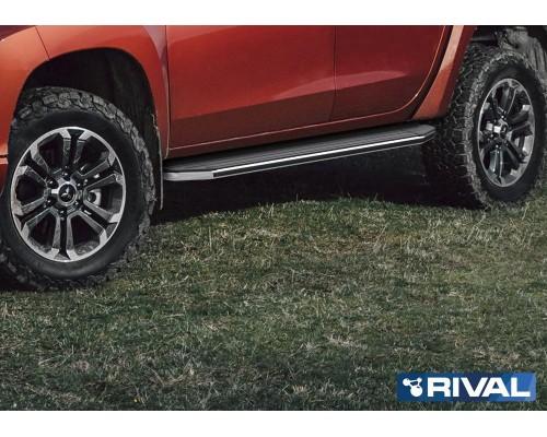 "Пороги алюминиевые Rival ""Premium"" для Mitsubishi L200 2006-2015/ 2015-"