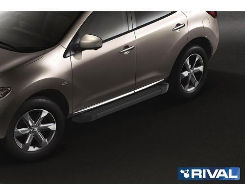 "Пороги алюминиевые Rival ""Black"" для Nissan Murano 2009-2016"