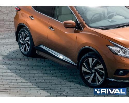 "Пороги алюминиевые Rival ""Black"" для Nissan Murano 2016-"