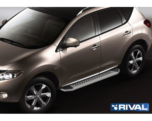 "Пороги алюминиевые Rival ""Premium-Bmw-Style"" для Nissan Murano 2009-2016"