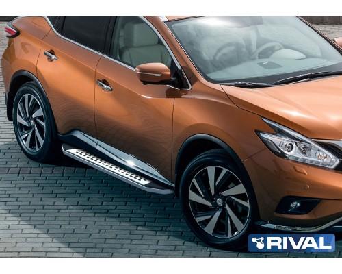 "Пороги алюминиевые Rival ""Premium-Bmw-Style"" для Nissan Murano 2016-"