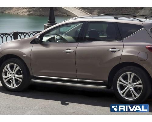"Пороги алюминиевые Rival ""Premium-Black"" для Nissan Murano 2009-2016"