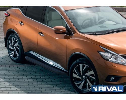 "Пороги алюминиевые Rival ""Premium-Black"" для Nissan Murano 2016-"