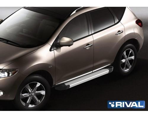 "Пороги алюминиевые Rival ""Silver"" для Nissan Murano 2009-2016"