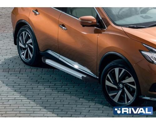 "Пороги алюминиевые Rival ""Silver"" для Nissan Murano 2016-"