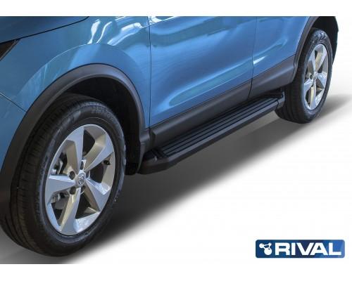 """Пороги алюминиевые Rival """"Black"""" для Nissan Qashqai 2013-"""