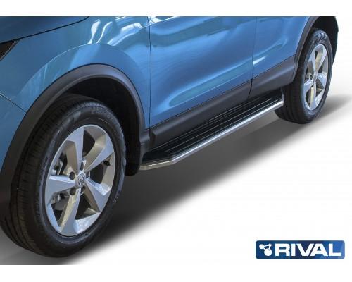 """Пороги алюминиевые Rival """"Premium"""" для Nissan Qashqai 2013-"""