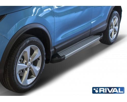"""Пороги алюминиевые Rival """"Silver"""" для Nissan Qashqai 2013-"""