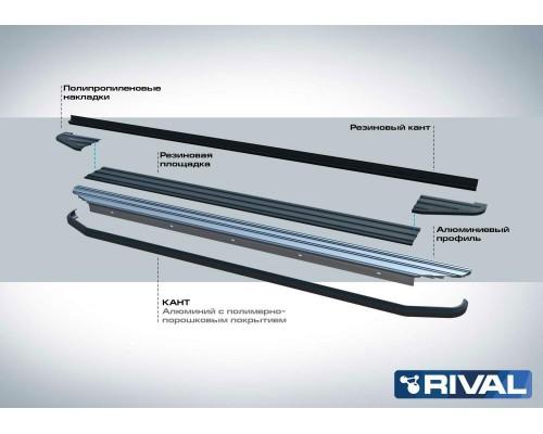 "Пороги алюминиевые Rival ""Premium-Black"" для Nissan Terrano 2014-"