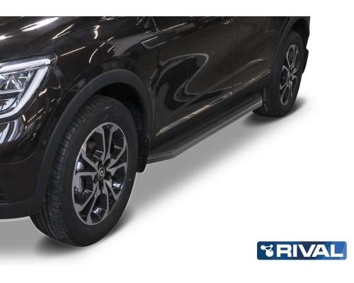 """Пороги алюминиевые Rival """"Premium-Black"""" для Renault Arkana 2019-"""