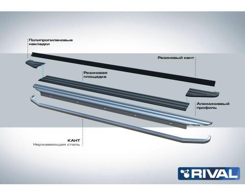 "Пороги алюминиевые Rival ""Premium"" для Nissan Terrano 2014-"