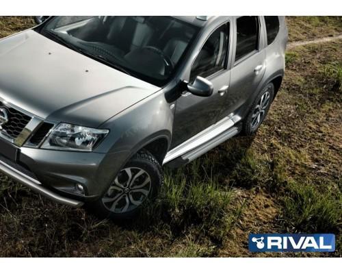 "Пороги алюминиевые Rival ""Silver"" для Nissan Terrano 2014-"