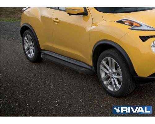 """Пороги алюминиевые Rival """"Black"""" для Nissan Juke 2010-2016 FWD"""