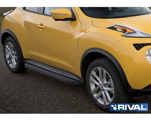"""Пороги алюминиевые Rival """"Premium-Black"""" для Nissan Juke 2010-2016 4WD"""