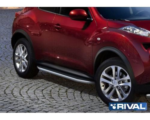 "Пороги алюминиевые Rival ""Premium"" для Nissan Juke 2010-2016 FWD"