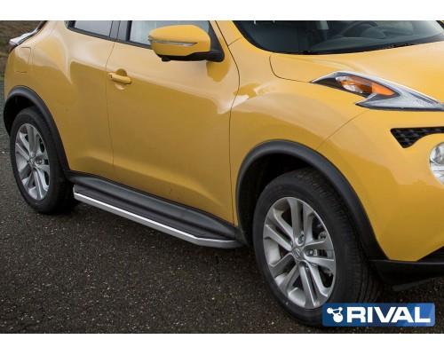 """Пороги алюминиевые Rival """"Premium"""" для Nissan Juke 2010-2016 4WD"""