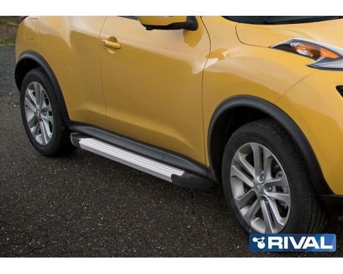 """Пороги алюминиевые Rival """"Silver"""" для Nissan Juke 2010-2016 FWD"""