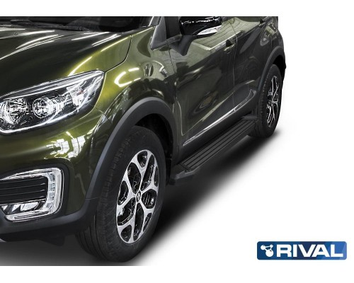 """Пороги алюминиевые Rival """"Black"""" для Renault Kaptur 2016-"""