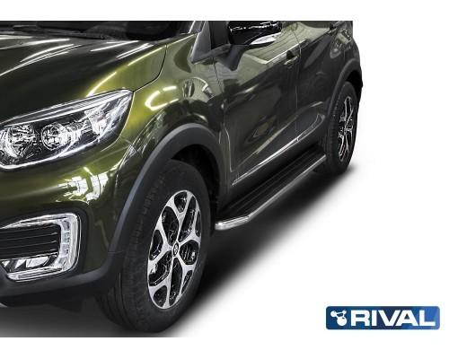 """Пороги алюминиевые Rival """"Premium"""" для Renault Kaptur 2016-"""