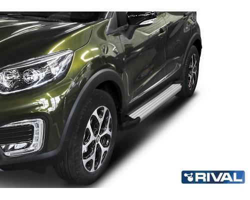 """Пороги алюминиевые Rival """"Silver"""" для Renault Kaptur 2016-"""