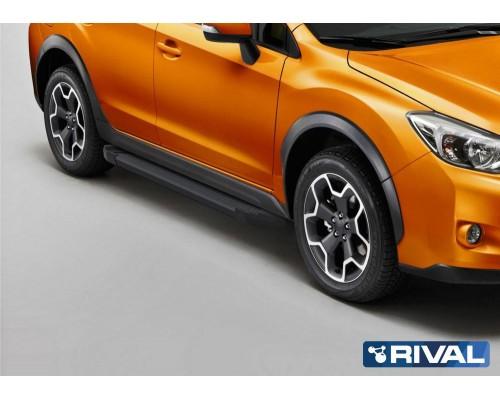 "Пороги алюминиевые Rival ""Black"" для Subaru XV 2011-2016"