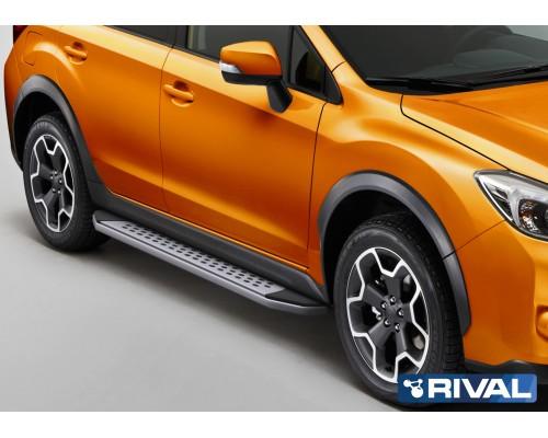 "Пороги алюминиевые Rival ""Premium-Bmw-Style"" для Subaru XV 2011-2016"