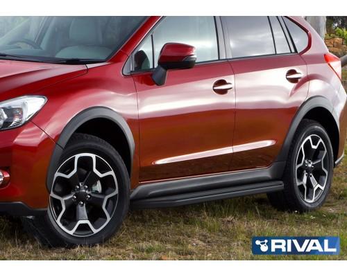 "Пороги алюминиевые Rival ""Premium-Black"" для Subaru XV 2011-2016"