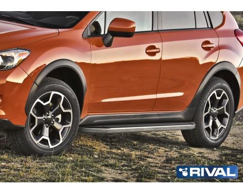 """Пороги алюминиевые Rival """"Premium"""" для Subaru XV 2011-2016"""