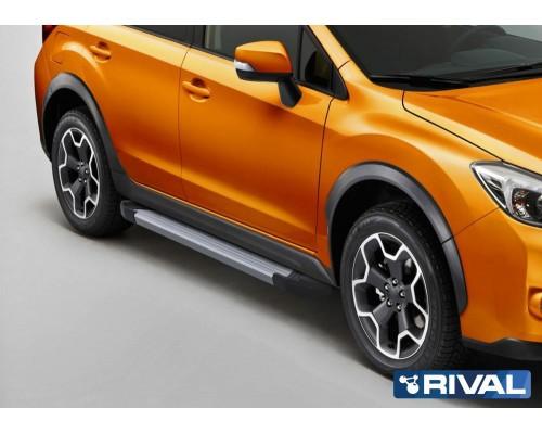 "Пороги алюминиевые Rival ""Silver"" для Subaru XV 2011-2016"
