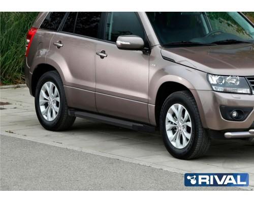 "Пороги алюминиевые Rival ""Black"" для Suzuki Grand Vitara 2005-2016"