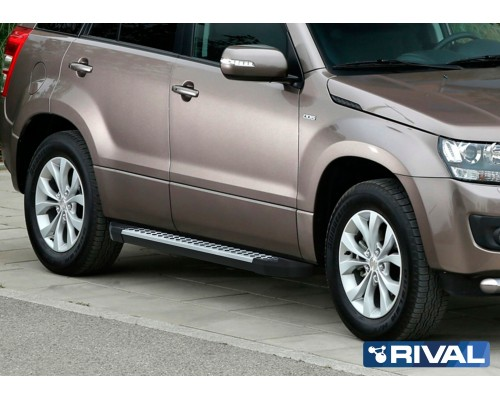 "Пороги алюминиевые Rival ""Bmw-Style"" для Suzuki Grand Vitara 2005-2016"