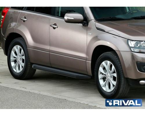 "Пороги алюминиевые Rival ""Premium-Black"" для Suzuki Grand Vitara 2005-2016"