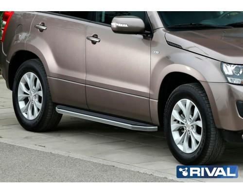 "Пороги алюминиевые Rival ""Premium"" для Suzuki Grand Vitara 2005-2016"