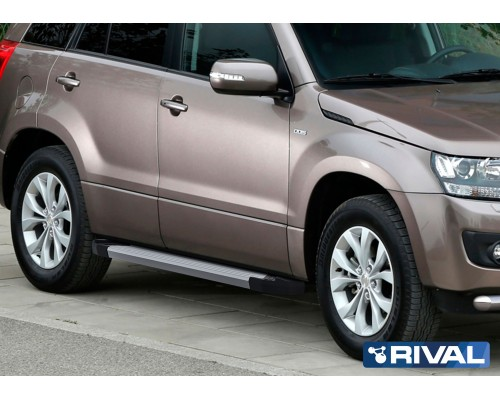 "Пороги алюминиевые Rival ""Silver"" для Suzuki Grand Vitara 2005-2016"