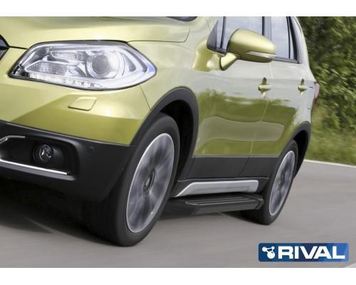 "Пороги алюминиевые Rival ""Black"" для Suzuki SX4 2015-"
