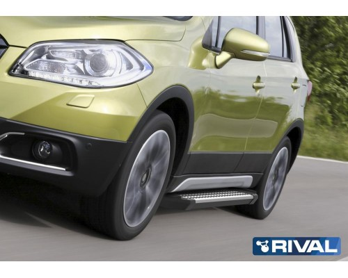 "Пороги алюминиевые Rival ""Bmw-Style"" для Suzuki SX4 2015-"