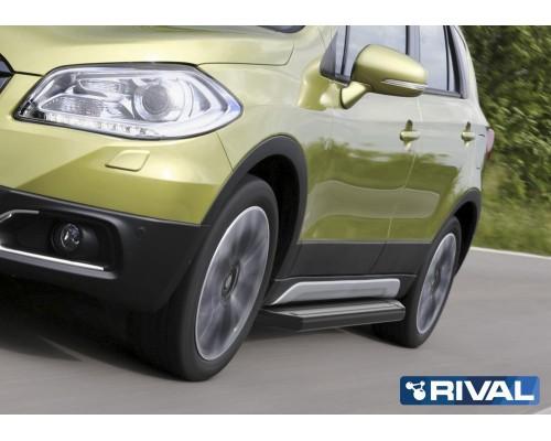 "Пороги алюминиевые Rival ""Premium-Black"" для Suzuki SX4 2015-"