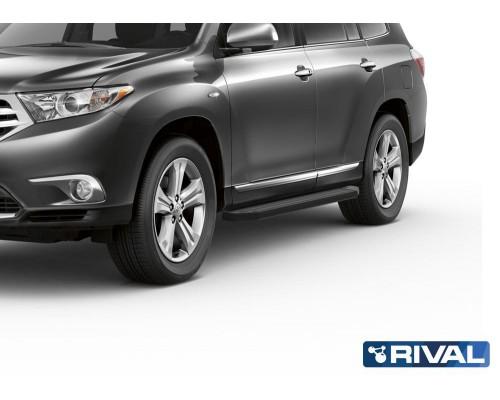 """Пороги алюминиевые Rival """"Premium-Black"""" для Toyota Highlander 2007-2014"""
