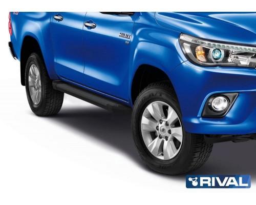 """Пороги алюминиевые Rival """"Black"""" для Toyota Hilux 2015-"""