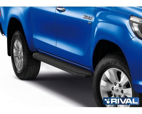 """Пороги алюминиевые Rival """"Premium-Black"""" для Toyota Hilux 2015-"""