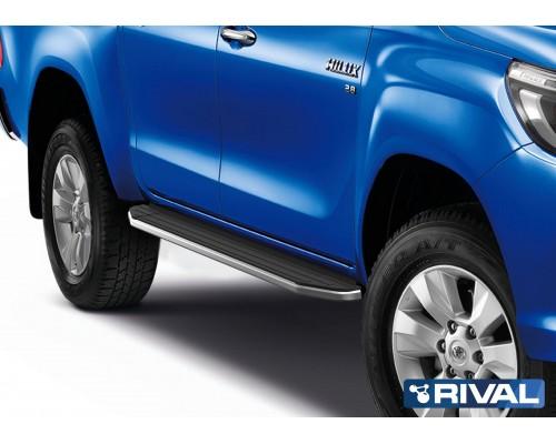 """Пороги алюминиевые Rival """"Premium"""" для Toyota Hilux 2015-"""