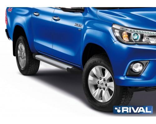 """Пороги алюминиевые Rival """"Silver"""" для Toyota Hilux 2015-"""