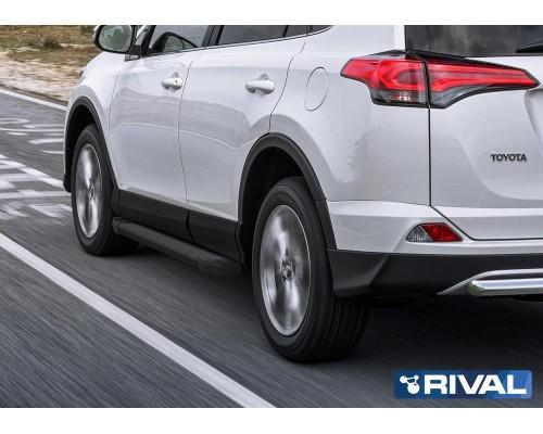 "Пороги алюминиевые Rival ""Black"" для Toyota Rav 4 2013-2019"