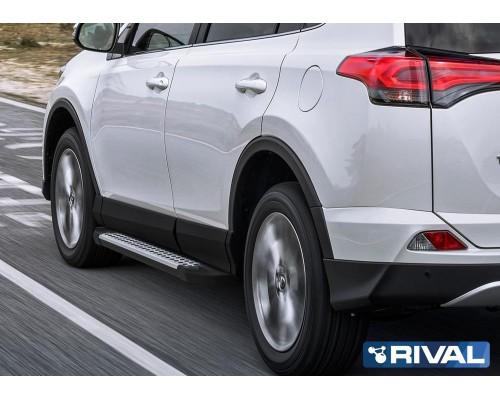 """Пороги алюминиевые Rival """"Bmw-Style"""" для Toyota Rav 4 2013-2019"""