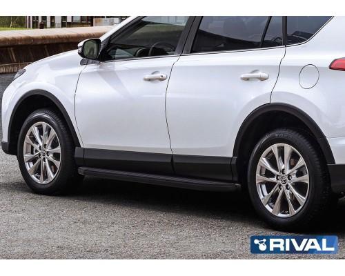 """Пороги алюминиевые Rival """"Premium-Black"""" для Toyota Rav 4 2013-2019"""
