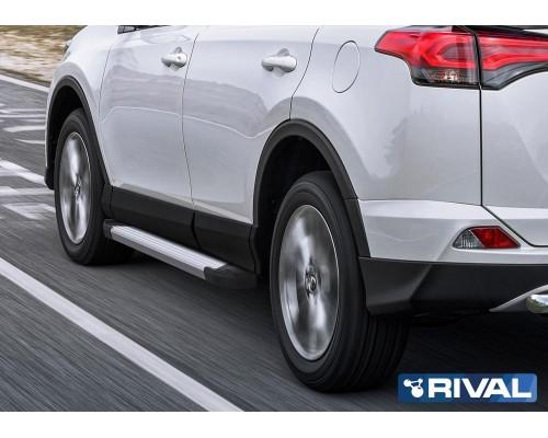 "Пороги алюминиевые Rival ""Silver"" для Toyota Rav 4 2013-2019"