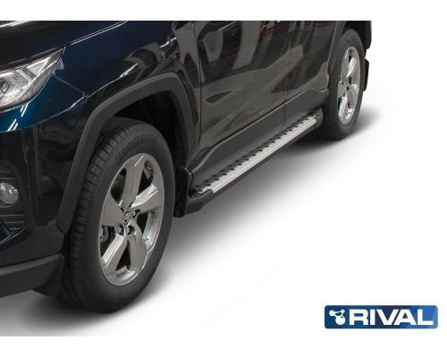 """Пороги алюминиевые Rival """"Bmw-Style"""" для Toyota Rav 4 2019-"""
