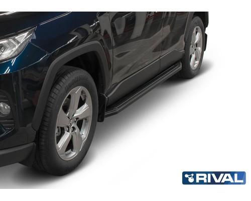 """Пороги алюминиевые Rival """"Premium-Black"""" для Toyota Rav 4 2019-"""