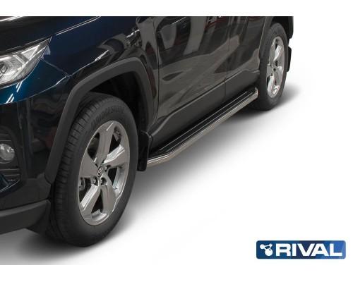 """Пороги алюминиевые Rival """"Premium"""" для Toyota Rav 4 2019-"""